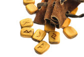 Runes in leather sack — Stock Photo