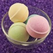 Violet  salt  and bath balls — Stock Photo