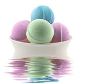 Bath bombs in the water — Stock Photo