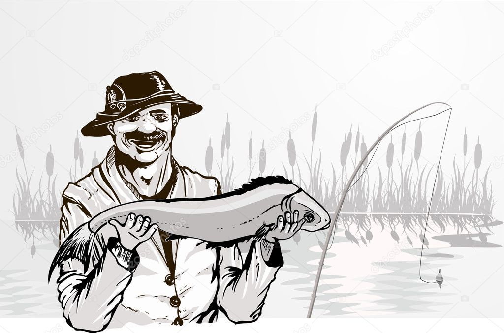 Happy fisherman shows the big fish he has caught in the pond  Stock Vector #1095363