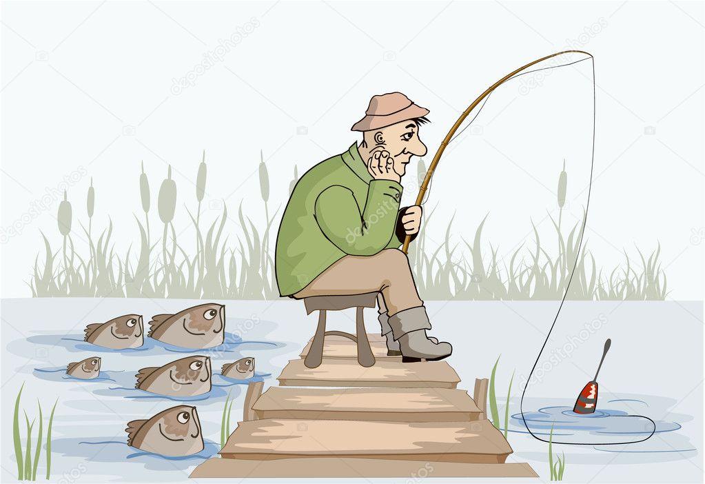 мужик ловит рыбу рисунок