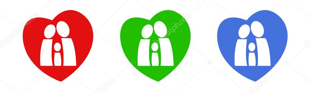 A logo with family figures in a heart — Stock Vector #1091214