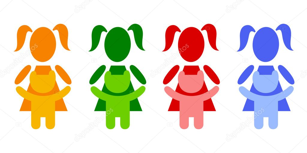 A pictogram girl with a teddy bear — Stock Vector #1091220