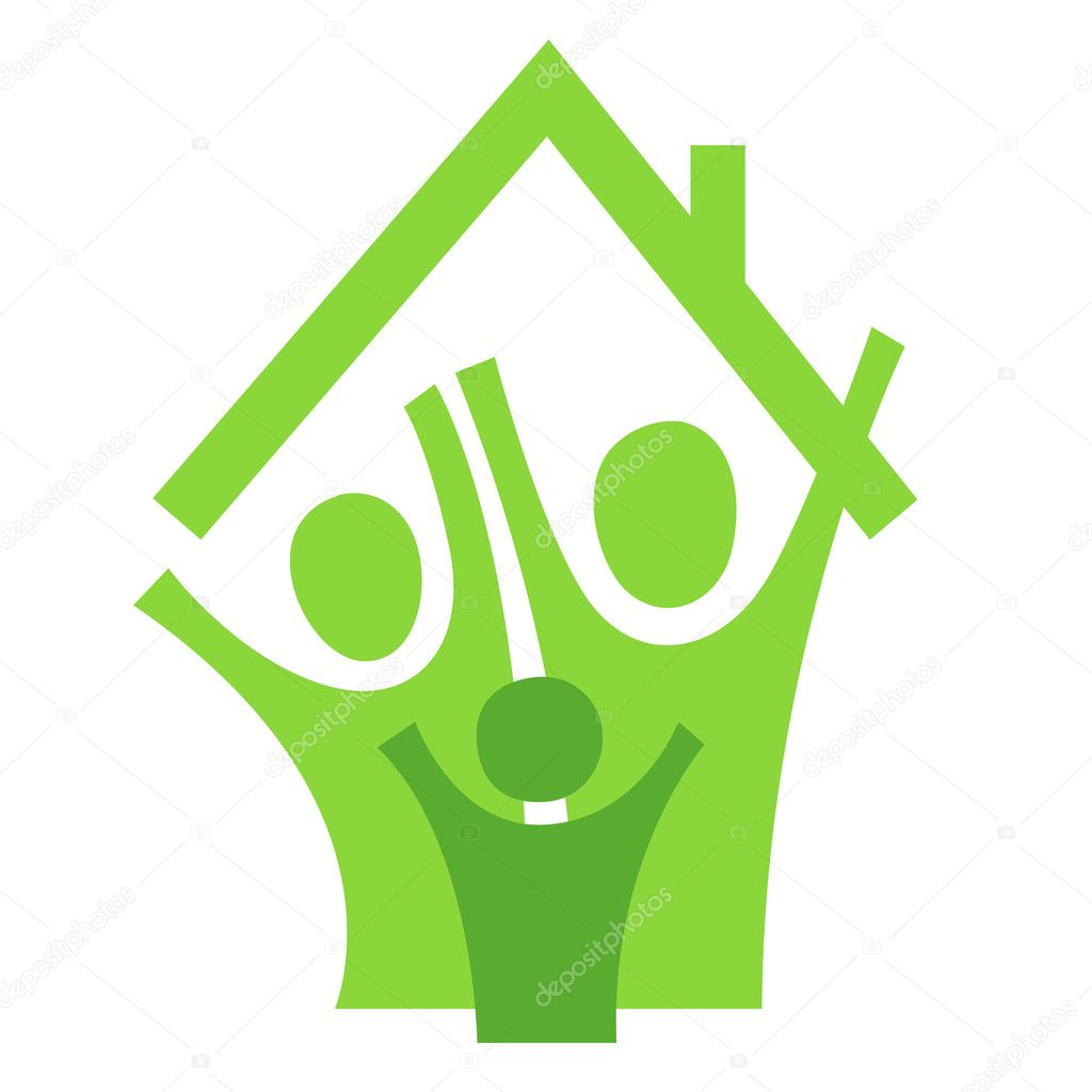 A pictographic image of a family in a new house — Imagen vectorial #1091256
