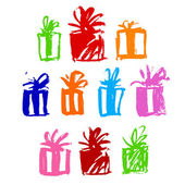 Present boxes water-colour — Stock Vector
