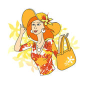 Girl with bag — Stock Vector
