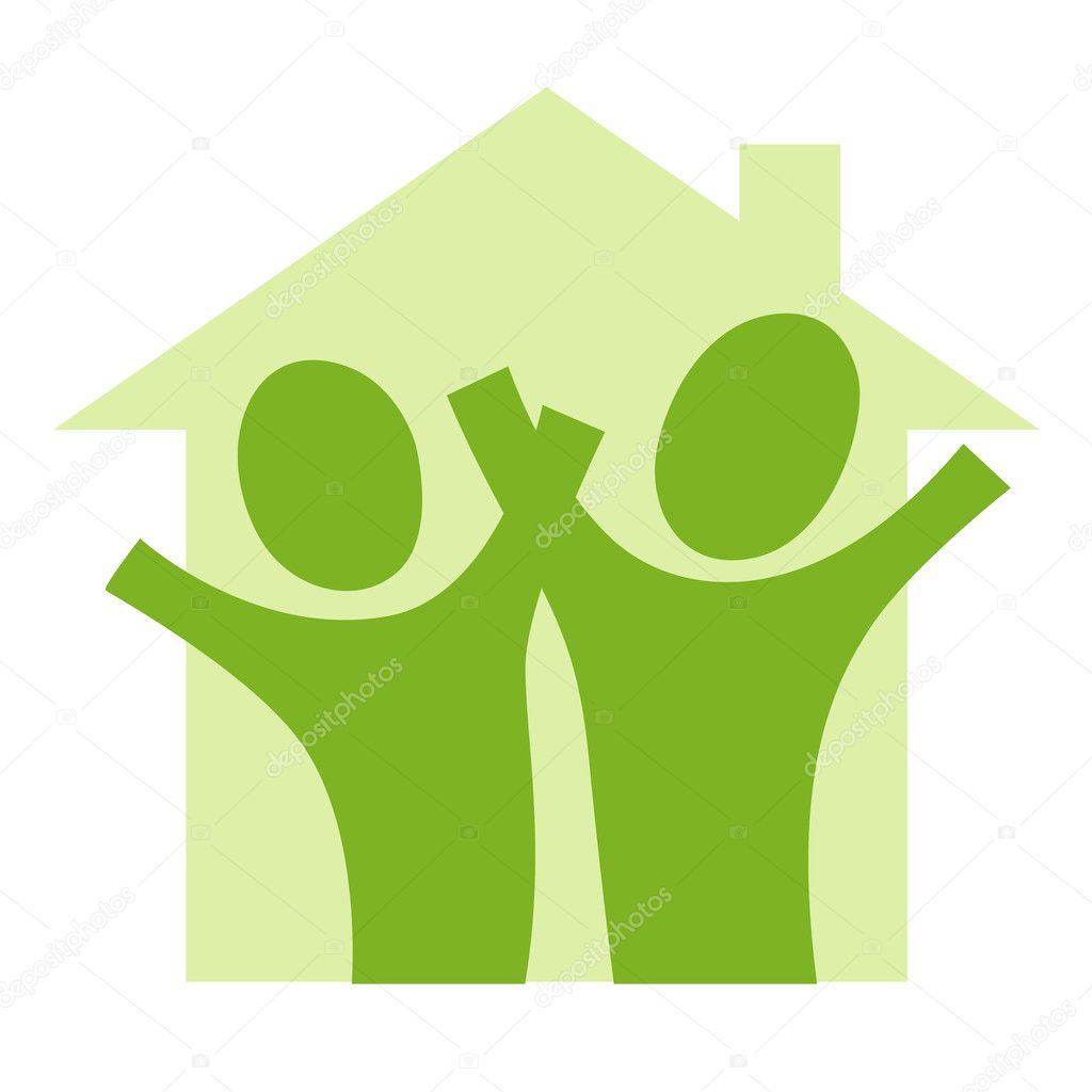 A pictogram with a couple in a house — Stock Vector #2398617
