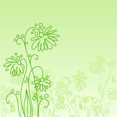 Green with flowers — Stock Vector