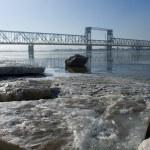 Railway bridge by springtim — Stock Photo