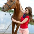 Girl and horse.r — Stock Photo