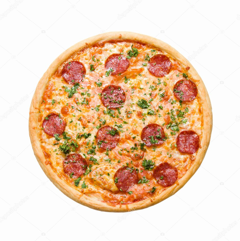 Tasty Italian pizza, isolated on white background. — Стоковая фотография #1124003