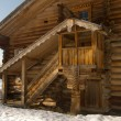 Porch of the rustic wooden building — Stock Photo