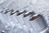 Set of metallic tools as background — Stock Photo