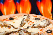 Pizza and italian kitchen with sardine — Stock Photo