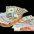 Dollars, euro and roubles — Stock Photo