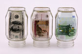 Denominations in jars — Stock Photo