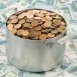 Coins in an aluminium pan - Stock Photo