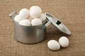 Eggs in an old pan — Stock Photo