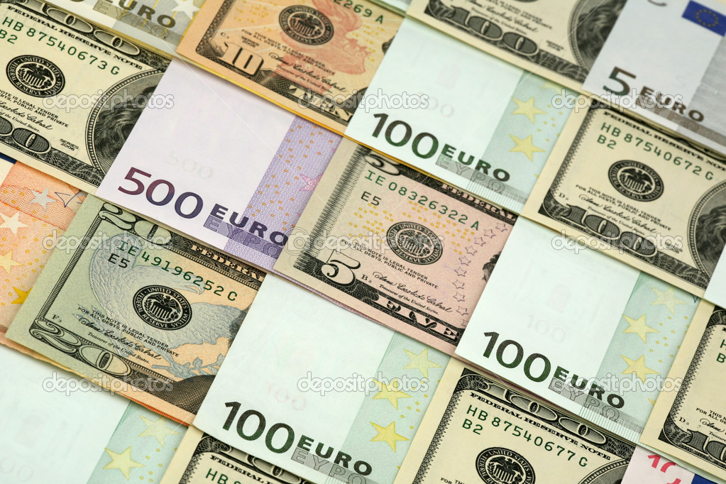 Background of several denominations - euro and dollars — Stock Photo #1463572