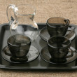 Three coffee pairs and jug - Zdjcie stockowe
