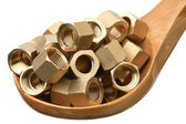 Brass nuts — Stock Photo