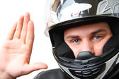 Man in motorbike helmet — Stock Photo