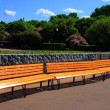 Empty orange bench in park — Stock Photo