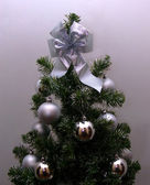 Christmas-tree in silvery tones — Stock Photo
