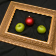 Two apples and fir-tree marble — 图库照片
