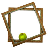 Green apple in green scopes — Stockfoto