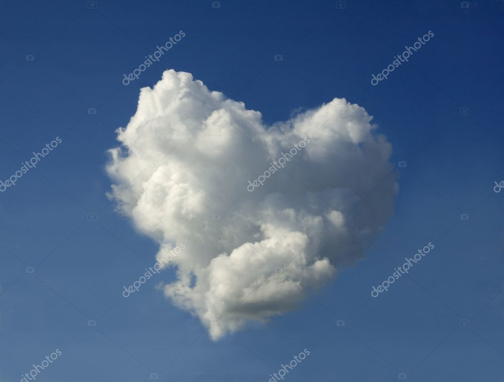 Surprise on Valentine's Day - a cloud in the shape of the heart.  Stock Photo #1225166