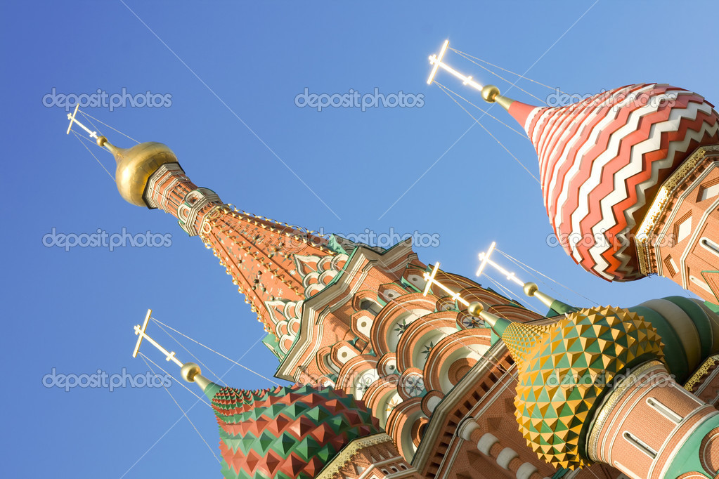 Blessed Basil's Cathedral on Red Square in Moscow.  Stock Photo #1227884