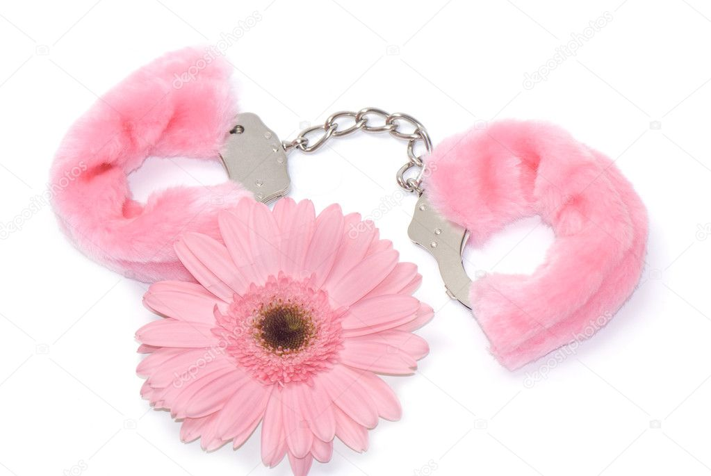 Gerbera flower and pink hand cuffs isolated over white background — Stock Photo #1087791