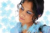 Beautiful Christmas girl with snow flake — Stock Photo