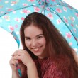 Stock Photo: One smiling girl with an umbrella
