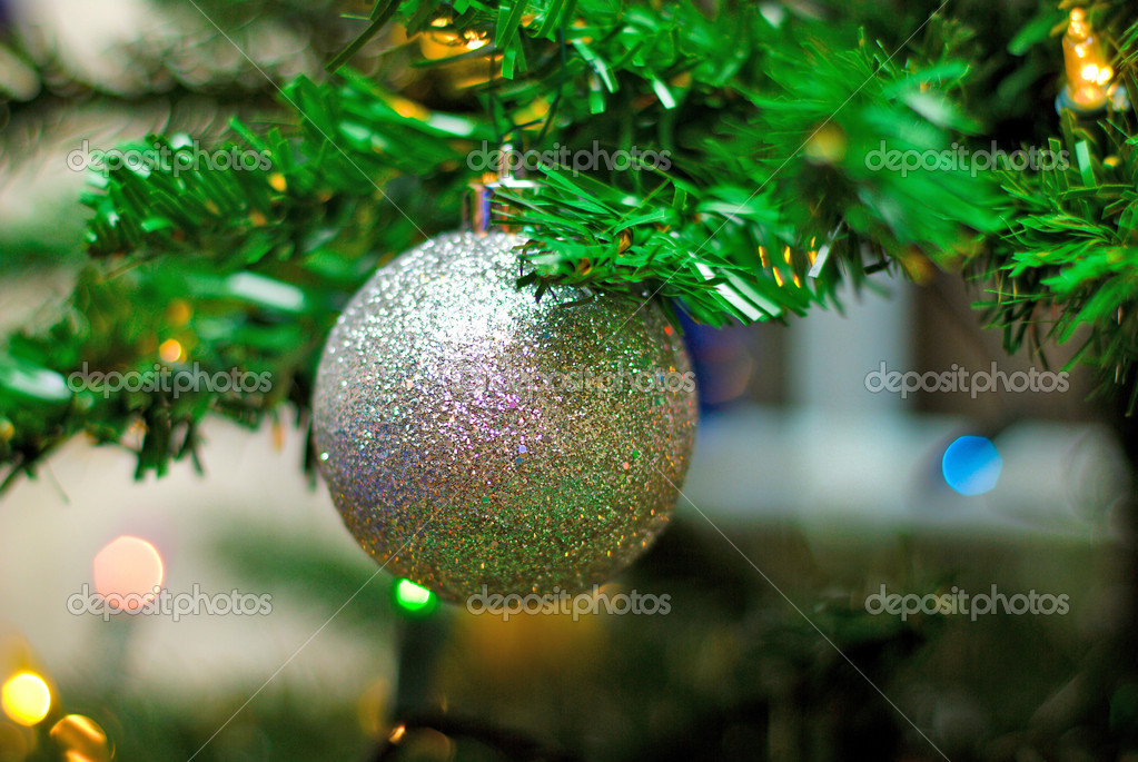 Bright toys hanging on the Christmas Tree  Stock Photo #1100051