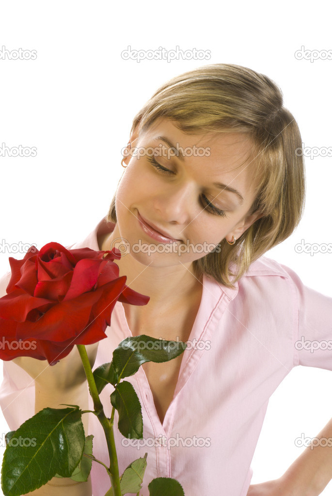 Young woman with flowers smiling isolated over white  Stock Photo #1430368