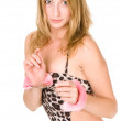 Young woman locked in the hand cuffs — Stock Photo