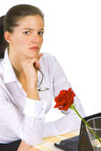 Contemplative business woman — Stock Photo