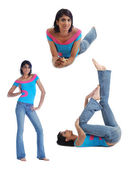 Collage of one woman in different poses — Stock Photo