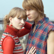 Stock Photo: Young couple - the guy and the girl outd