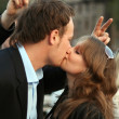 Young beautiful couple kisses. funny pic — Stock Photo