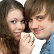 Portrait of young couple with glasses in — Stock Photo
