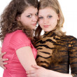 Two sexy beauty young women. Isolated 1 — Stock Photo