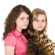 Two sexy beauty young women. Isolated 2 — Stock Photo