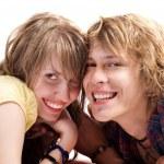 笑顔若い美しさカップルの肖像画 — ストック写真