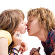 Portrait of kissing young beauty couple — Stock Photo #1105942