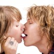 Portrait of kissing young beauty cou — Stock Photo #1105943