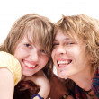 Portrait of smiling young beauty couple — Stok fotoğraf