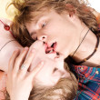 Portrait of kissing young beauty couple — Stok fotoğraf